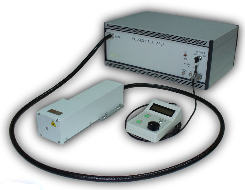 Q-switched fiber laser generating in  near-IR, green and UV